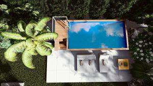 basen w kontenerze w ogrodzie
